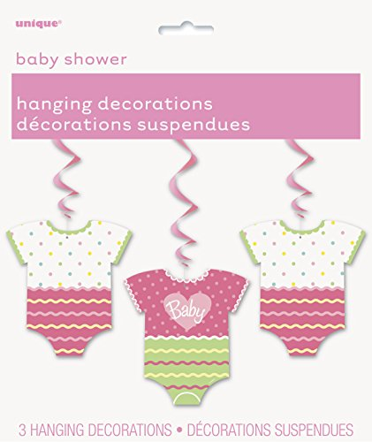 "32"" Hanging Pink Polka Dot Baby Shower Decorations, 3ct"