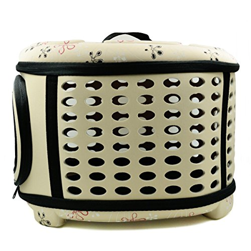 Hippih Folding Outdoor Pet bag for Dog Cat Comfort Airline Approved Travel Large Size Pet Carrier (Apricot)