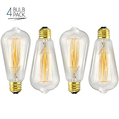 Edison Bulb 4 Pack - ST64 - Squirrel Cage Filament - Dimmable, Edison Style Vintage Light Bulbs
