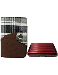 Apki Needs Long Tan Mens Wallet & Red Colored Credit Card Holder Combo