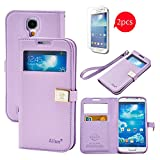Galaxy S4 Case,Case for Samsung Galaxy i9500,[with 2 HD Screen Protectors]By Ailun, Wallet Case,with S-view Function,PU Leather Case,Credit Card Holder,Flip Cover Skin[Purple]
