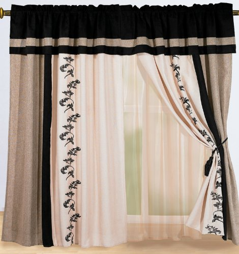 Brown and cream curtains 2