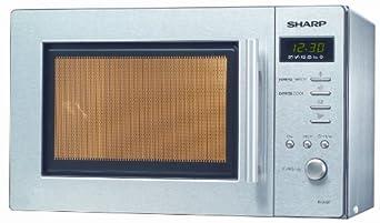 SHARP 589432 Mikrowellenherd R-26 ST-A Edelstahl 800 W Leistung, 5 Leistungsstufen, 12 Programme