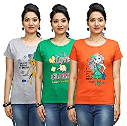 Flexicute Women's Printed Round Neck T-Shirt Combo Pack (Pack of 3)-Grey Milange, Pakistan Green & Orange Color. Sizes : S-32, M-34, L-36, XL-38