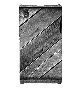 PrintVisa Diagonal Wooden Pattern 3D Hard Polycarbonate Designer Back Case Cover for Sony Xperia Z1