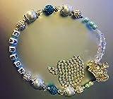 Floral swavorski y Rhinestones Bling personalizada Corona Shamballa para chupete chupete Holder Clip para chupete personalizado de la cadena Blue Boys