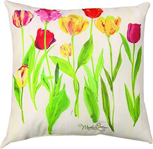 "MWW Manual Indoor/Outdoor Climaweave Throw Pillow, 18"", Tulips"