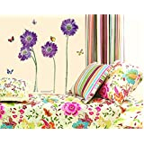 BONAMART ? purple flower butterfly removable quote vinyl room wall decals stickers LD610