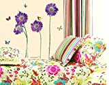 BONAMART ® purple flower butterfly removable quote vinyl room wall decals stickers LD610