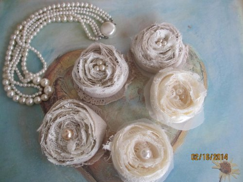 5 Assorted Rustic Shabby Chic Beige And Cream Cotton Silk And Lace Accent Flowers, Shower Flowers