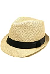 TrendsBlue Classic Natural Fedora Straw Hat - Different Color Band Available