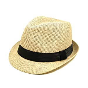 Classic Natural Fedora Straw Hat, Black Band