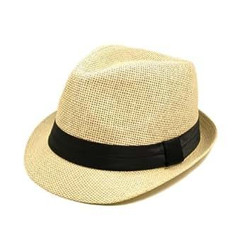 TrendsBlue Classic Natural Fedora Straw Hat, Black Band