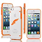 Apple iPhone 5 5s Ultra Thin Transparent Clear Hard TPU Case Cover Track & Field Wing Shoes (Orange)