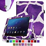 Fintie E FUN Nextbook Premium 8HD SE NX008HD8G Tablet Folio Case Cover - Premium Leather With Stylus Holder 3 Years Warranty [June 2013 Wal-Mart Release] - Giraffe Purple