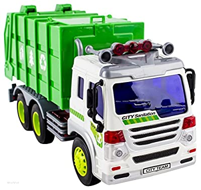 WolVol Friction Powered Garbage Truck Toy with Lights and Sounds, Can open back from WolVol