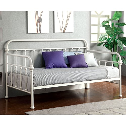 Furniture of America Lissa Modern Metal Daybed White Off-White Finish, White Finish, Metal Finish
