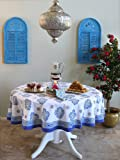 Casablanca ~ Moroccan Style White Quatrefoil Tablecloth 90 Round