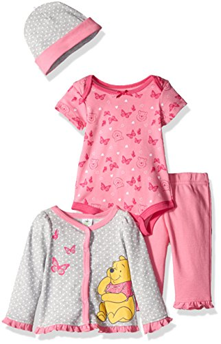 Disney Baby Girls' 4-Piece Winnie the Pooh Cardigan Set with Bodysuit