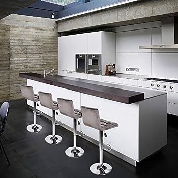 Set of 2 Barstool Velvet Fabric Cushion Chair Adjustable Swivel Counter Top Home