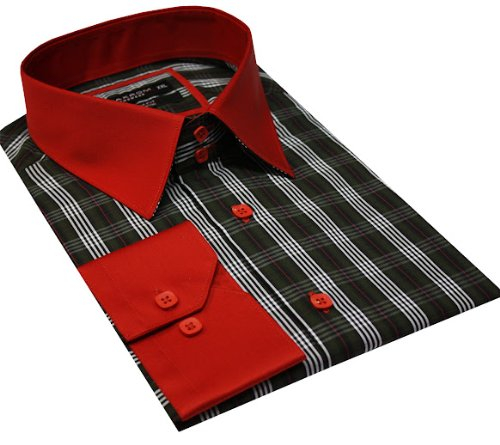 Italian Design Men Formal Casual Shirts Designed High Collar Green Colour
