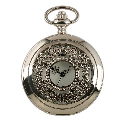 Youyoupifa New Mens Stainless Steel Case White Dial Antique Pocket Watch with Chain