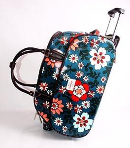 Funky Flower Print Blue Wheeled Travel Bag On Wheels Cabin Luggage Baggym Bagweekend Baghospital Bag