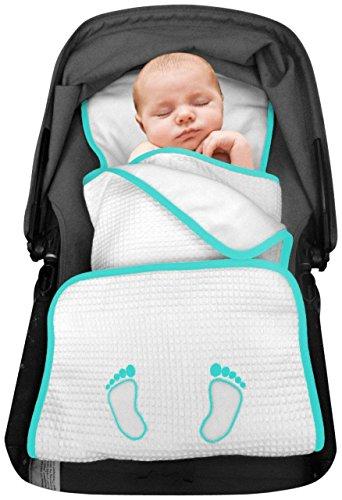 Elli&Nooli Padi 100% Organic Stroller Blanket - Aqua - 1