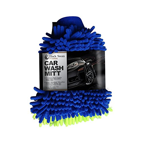 Microfiber Wash Mitt [2 Pack] by Black Swan Premium Wash Mitts Microfiber Mitten Use As Duster or Car Wash Mitt Professional Quality Perfect for Washing Dusting Cleaning Your Car Home or Boat [2 Pack]
