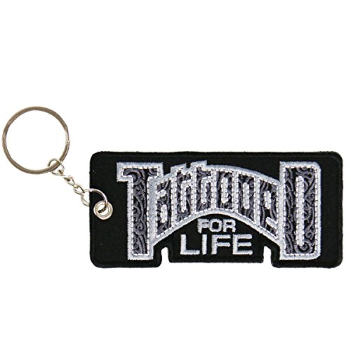 """Hot Leathers Double Sided Key Chains, TATTOOED FOR LIFE - High Quality Embroidered PATCH KEYCHAIN - 4"""" x 2"""""""