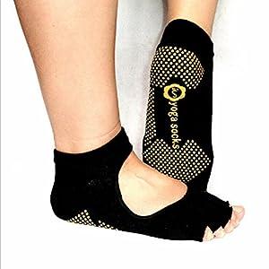 Seasofbeauty Yoga Pilates Socks Half Toe Ankle Grip Five Finger No-Slip