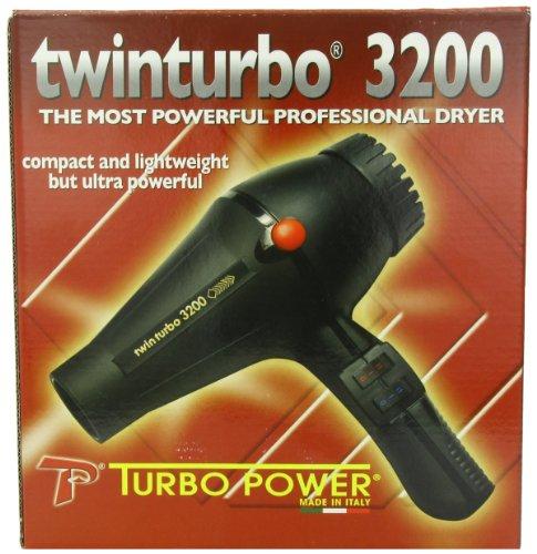 Pibbs Twinturbo 3200 1900 watt Compact Lightweight Hair Dryer, Black (Turbo Hair Dryer Professional compare prices)