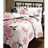 Factorywala Floral Print Soft And Warm Reversible Poly Cotton Single Bed Pink Dohar/AC Comfort/Blanket ( Single Bed Size)