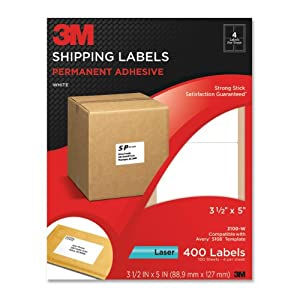 3m permanent adhesive shipping labels 3 5 x 5 inches white 400 per pack 3100 w. Black Bedroom Furniture Sets. Home Design Ideas