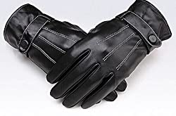Lyouth Men's Three Tendons Leather Touchscreen Technology Glove Windproof Warm Plus Velvet Gloves - Three Tendons