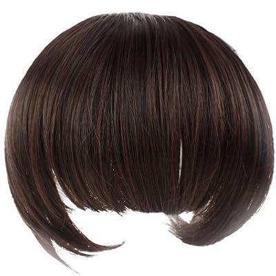 Leegoal Girl's Lovely Fiber Synthetic Clip on Clip in Front Hair Bangs Fringe Extension (dark brown)