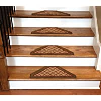 Dean Washable Non Skid Carpet Stair Treads - Beige Checkerboard Hexagon (Set of 13)