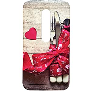 Fancy Interio Motorola Moto G 3rd Generation - Fork, Knife And Spoon Tied Up With Red Ribbon Design Hard Back Case Cover