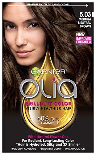 Garnier Hair Color Olia Oil Powered Permanent Color, 5.03 Medium Neutral Brown (Packaging May Vary)
