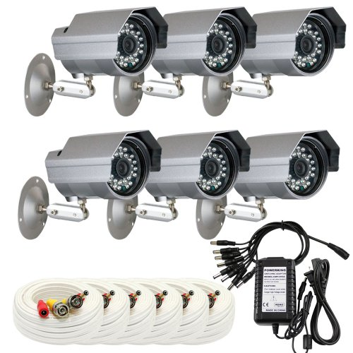 """Gw 6 X Professional 1/3"""" Panasonic Ccd Outdoor Camera With Bnc Cables & Power Supply Pack, 3.6Mm Lens, 700 Tv Lines, 30Pcs Ir Led, 82 Feet Ir Distance. Vandal Proof & Water Proof"""