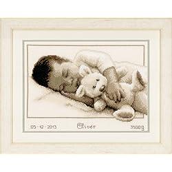 Vervaco - Kit para cuadro de punto de cruz, diseño de bebé con osito, multicolor