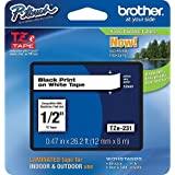 """Brother P-touch ~1/2"""" (0.47"""") Black on White Standard Laminated Tape - 26.2 ft. (8m)"""