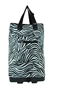 Hoppa Wheeled Hand Luggage Cabin Bag Folding Flight Bag On Wheels Ryanair Zebra