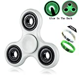 #5: Thessentials Fidget spinner, Glow in dark white colour with free glow in dark Thessentials wrist band, high quality stress reducer with two sided premium metal bearing EDC hand spinner fidget toys, ultra speed with good spinning time. 608 bearing, stress focus toy relieves boredom. Cheap in price, below rs 500. Free wrist band with glow in dark tri spinner toy. (white)
