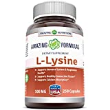 Amazing Nutrition Amazing Formulas L-Lysine - 500mg Amino Acid Vitamin Capsules - Commonly Used For Cold Sores, Shingles, Immune Support, Respiratory Health & More - 250 Vegetarian Capsules Per Bottle