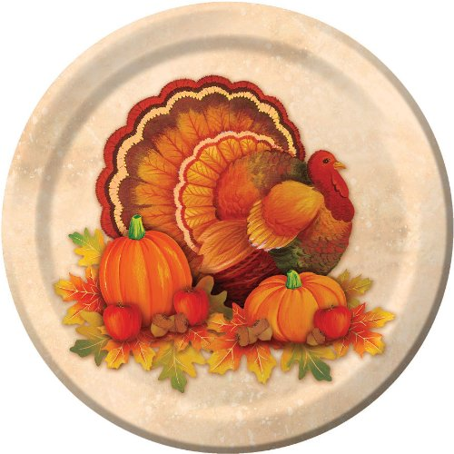 Thanksgiving Scroll Dessert Plates (8 count) Party Accessory