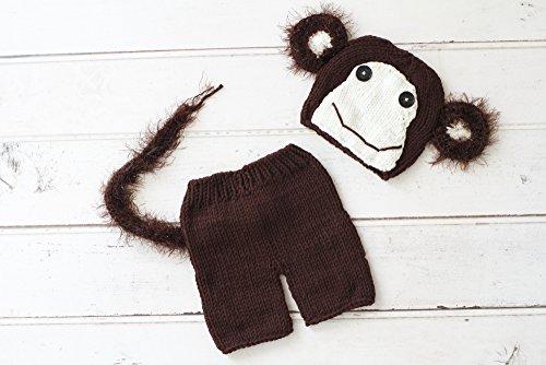 MOMO shop かわいすぎる ベビー 着ぐるみ セット サル 2016 申 年賀状 撮影 にも! (アイボリー/短パン)