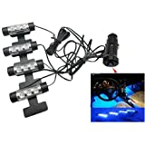 Docooler 12V Car Charge 4x 3 LED Glow Interior Decorative Atmosphere Neon Light Lamp