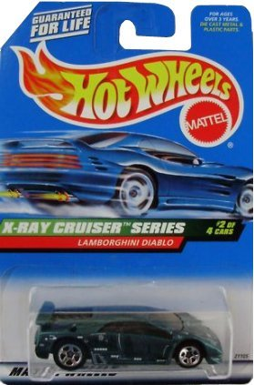Mattel Hot Wheels 1999 1:64 Scale X-Ray Cruiser Series Dark Teal green Lamborghini Diablo Die Cast Car 2/4 - 1