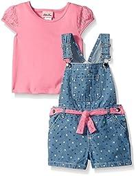 Little Lass  Girls 2 PC Shortall Set Lace Belt, Pink, 6/9 Months
